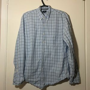 J.Crew Blue washed tattersall Gingham Mens size L